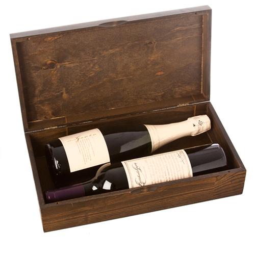 caja con vino y champagne