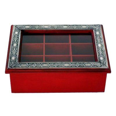 caja de te de madera y tapa de vidrio