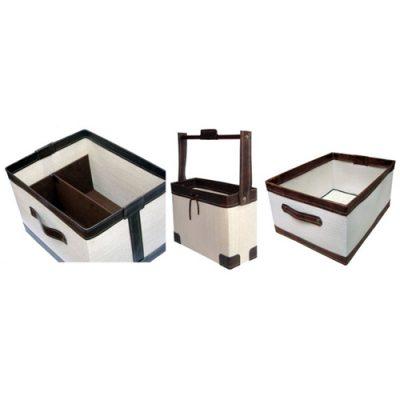 cajas en tela y ecocuero