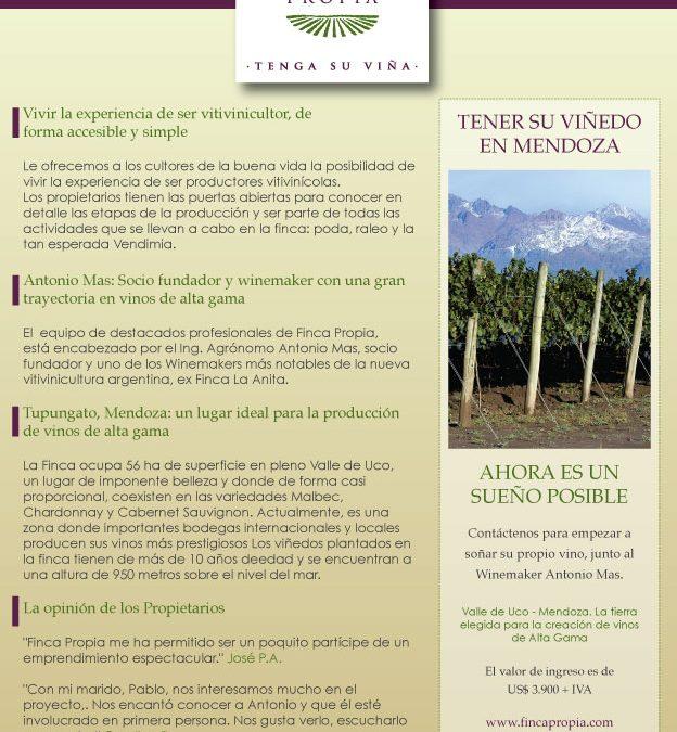 Diseño de Aviso gráfico para revista especializada en Vitivinicultura