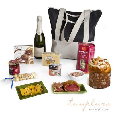 Bolso con productos dulces y salados
