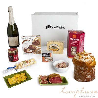 Delicias con champagne en caja de metal